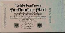 1923 Germany Weimar Republic Hyper Inflation 500 Mark Banknote
