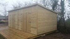 20ft x 10ft Heavy Duty 13mm t&g Tanalised Pent WorkshopShed Extra double doors