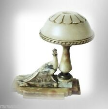 Marble table lamp with carved peacock decoration and domed light lid FREE SHIP