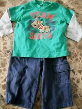 baby boys 2 PIECE CHRISTMAS OUTFIT carters TEAM SANTA reindeer PANTS 6 months