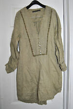 ZARA BASIC Khaki  Long Sleeve V Neck Tunic Blouse Sz s Long Sleeves