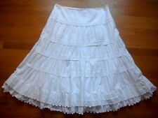 Ralph LAUREN JEANS CO. White Cotton Skirt Boho Prairie Petticoat Lace 16 L