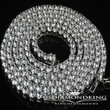 MEN WOMEN 14K WHITE GOLD FINISH MENS 1 ROW SIMULATED DIAMOND NECKLACE CHAIN 30""