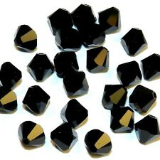 SCB544f JET Opaque Black 6mm Faceted Xilion Bicone Swarovski Crystal Beads 24/pk