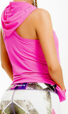 Sleeveless Hot Pink Hoodie for Women Athletic Apparel Fiber One Size New