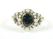 .50ct Mystic Topaz & Seed Pearl Victorian Art Deco Sterling Filigree Ring 104b