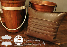 "1X EXCLUSIVE LUXURY GENUINE LEATHER CUSHION DISTRESSED BROWN PADDED LINE 18""x18"""