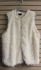 NEW WOMENS PLUS SIZE 3X IVORY OFF WHITE SO SOFT FULLY LINED FAUX FUR SHAG VEST