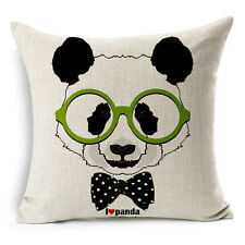 "18""x45cm Animal Family Panda Decor Cotton Linen Cushion cover Pillowcase"