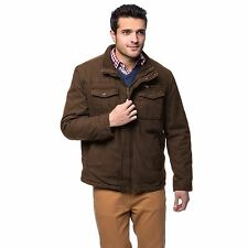 NWT - G.H. BASS & CO. Men's 'SEAMUS TWILL' Brown SHERPA LINED TRUCKER JACKET  XL