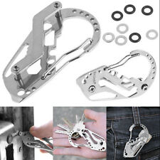 Practical Outdoor Tool Stainless Steel Key Holder Organizer Clip Folder Keychain