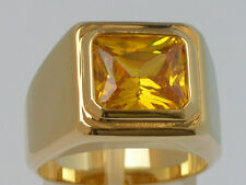 11 X 9 mm November Yellow Citrine CZ Birthstone Men's Solitaire Ring Size 8