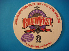 Beer Bar Coaster ~*~ MIDWEST BrewFest 2000 ~  ~ Nautica Complex, Cleveland, OHIO