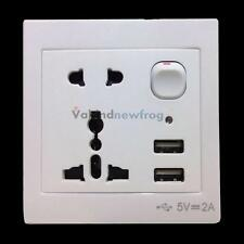 Universal Double USB Ports Outlet Power Wall Socket Plug with Switch NEW