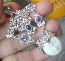 925 Solid Silver Balinese Goddess Pendant Face Four Amethyst-185L