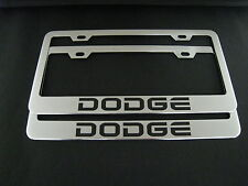 2 DODGE Stainless Steel Chrome license plate Frame + screw caps