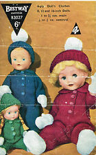 "Dolls clothes knitting pattern.8-12 &16"" doll.  Laminated copy. ( V Doll 05)"