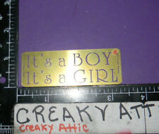 IT'S A BOY GIRL BRASS DRY EMBOSS STENCIL EMBOSSING LASTING IMPRESSIONS