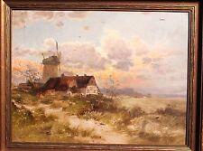 LUDWIG LANCKOW (1845 -1908 )  Ölgemälde Düsseldorfer Öl Landschaft Abendrot