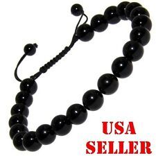 New Onyx  Gemstone 10mm Energy  Shamballa Bracelet adjustable fits ALL Men Women