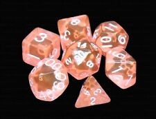 NEW 7 Piece Polyhedral Dice Set - Translucent Coral - RPG Game D&D