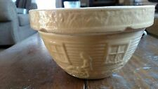 """Vintage McCoy Pottery Yellow Ware 10"""" Tan Watering Can Girl Mixing Bowl 166 USA"""