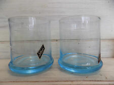 Pair of 1962 Worlds Fair Seattle Space Needle Plaza blue etched glasses Kokesh