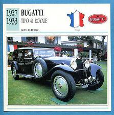 SCHEDA TECNICA AUTO DA COLLEZIONE - BUGATTI TIPO 41 ROYALE 1927-1933