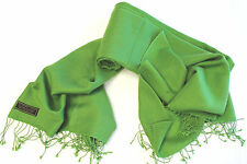 H11 NWT Green Color  Pashmina Silk Shawl/ Wrap Hand Woven In Nepal