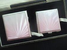 Silver & Enamel Compact + Cigarette Case - Henry Clifford Davies 1950 Fattorini