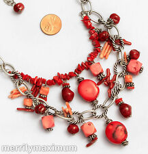 Chico's Signed Necklace Pretty Silver Tone Oval Link Chains Pink Red Coral Beads