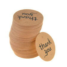 100 X Brown Kraft Paper Hang Tags Wedding Party Favor Label Thank You Gift Cards