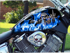 BLUE flames 4pc motorcycle vinyl decal sticker tank wrap or custom