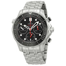 Omega Seamaster Black Dial Chronograph Stainless Steel Mens Watch 21230425001001