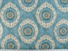 Drapery Upholstery Fabric Cotton Twill Southwestern Ikat Tie-Dye - French Blue