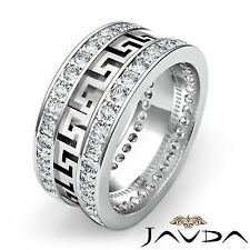 Mens Maze Eternity Wedding Band Prong Diamond 10mm Ring 14k White Gold 1.85Ct