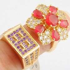 Wholesale Beautiful Red Purple Cubic Zircon Gold Filled Lady Girl Ring Size 7