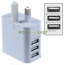 UK Plug 2A 3-Port USB AC Power Adapter Wall Charger for iPhone 5 5s Galaxy S3 S4