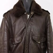 Schott Bros Leather Bomber Jacket Vtg I-S-674-M-S Faux Shearling USA Mens Sz 44