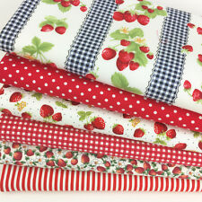 Bundle 6 fat quarters - strawberry summer 100 % cotton poplin craft/patchwork