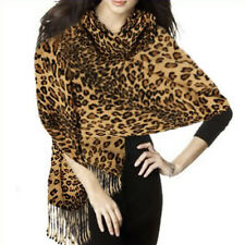 Graduated Leopard Animal Print Pashmina Soft Shawl Scarf Stole Brown & Gold