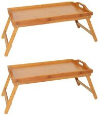 Home & Loft Bamboo Folding Breakfast In Bed Tray with Handles (2 Pack)