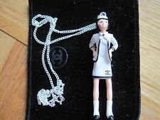 RARE AUTHENTIC COCO CHANEL LADY FIGURE ON SILVER CHAIN
