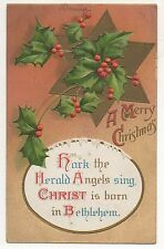 """A Merry Christmas"" Hark The Herald Angels Sing, Star Antique Christmas Postcard"