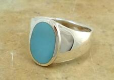 LARGE .925 STERLING SILVER MEN'S TURQUOISE RING size 10  style# r1524