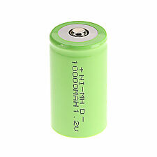 Popular 1Pcs D Size 1.2 V 10000mAh NI-MH rechargeable battery Green Color