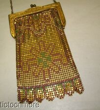 VINTAGE WHITING & DAVIS ART DECO GOLDEN EGYPTIAN ENAMEL PAINTED MESH PURSE BAG