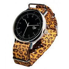 Cheapo Cheapo Harold w. Black Face & Leopard Yellow Nylon Strap Watch