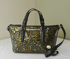 Brahmin Gold Rousseau Rose Floral Embossed Mini Asher Satchel Crossbody Bag