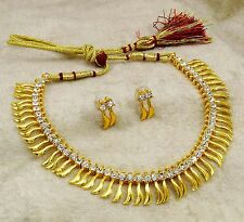 Traditional Women Gold Plated CZ Necklace Earrings Set Ethnic Indian Jewelry